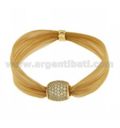 BRACELET SHOES AND ZIRCONIA IN AG TIT 925 ‰ GOLD PLATED WITH MAGNETIC CLOSURE