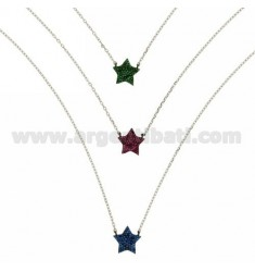 NECKLACE CABLE 3 WIRES DEGRADE WITH STARS WITH ZIRCONIA BLUE GREEN AND RED IN AG TIT RHODIUM 925 ‰ CM 45