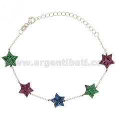 CABLE BRACELET WITH STARS WITH ZIRCONIA BLUE GREEN AND RED IN AG TIT RHODIUM 925 ‰ CM 17.20