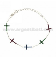 CABLE BRACELET WITH CROSSES WITH ZIRCONIA BLUE GREEN AND RED IN AG TIT RHODIUM 925 ‰ CM 17.20