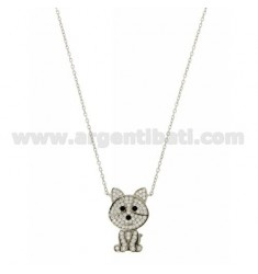 CABLE NECKLACE WITH DOG WITH ZIRCONIA IN AG TIT RHODIUM 925 ‰ CM 45