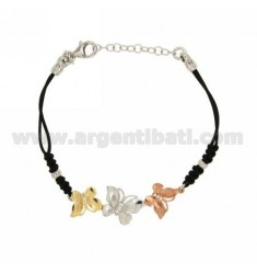 BRACELET WITH SILK CERATA 3 BUTTERFLIES IN AG RHODIUM, GOLD PLATED YELLOW AND PINK TIT 925 ‰ E ZIRCONS