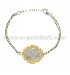 BRACELET WITH CAMEO Funetta SILKSCREENED 30x25 MM AND BOARD IN GOLD PLATED RHODIUM AG TIT 925 ‰ CM 17.20