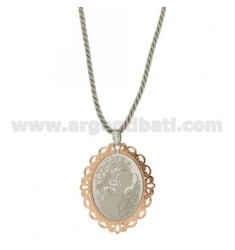 CAMEO NECKLACE SILK SCREEN PRINTED 55x46 MM AND BOARD PLATED ROSE GOLD IN AG TIT RHODIUM AND ZIRCONIA 925 ‰ CM CM 45.50