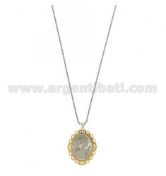 NECKLACE WITH CAMEO Funetta SILKSCREENED 30x25 MM AND BORDER RHODIUM PLATED GOLD IN AG TIT 925 ‰ CM 17.20