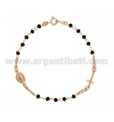 ROSARY BRACELET WITH BLACK STONES faceted MM 3.5 X 2.8 CM 19.20 SILVER PLATED ROSE GOLD 925 ‰