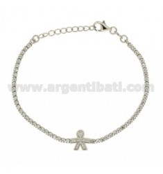 TENNIS BRACELET WITH CHILD AND ZIRCONIA IN AG TIT RHODIUM 925 ‰ CM 17.20
