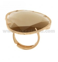 BIG STONE RING WITH STONE HYDROTHERMAL COLOR PEARL TORRONCINO 31P IN AG TIT 925 ROSE GOLD PLATED SIZE ADJUSTABLE