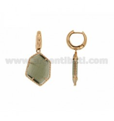 EARRING WITH STONE CIRCLE snap IRREGULAR PEARL GREY 51P ROSE GOLD PLATED PENDANT IN AG TIT 925
