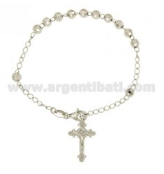 BRACELET ROSARY WITH BALL faceted MM 5 19 CM IN SILVER RHODIUM 925 ‰