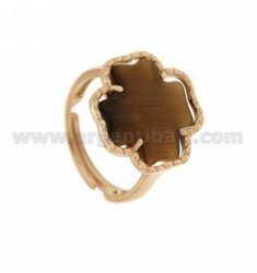RING CROSS BROWN PEARL IN 68P AG PLATED ROSE GOLD 925 ‰ TIT SIZE ADJUSTABLE