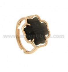 RING CROSS IN BLACK PEARL 7P AG PLATED ROSE GOLD 925 ‰ TIT ADJUSTABLE SIZE