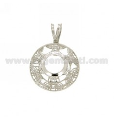PENDANT ROUND WITH 22 MM 10 MM CASTONE SILVER RHODIUM Arcbound TIT 925