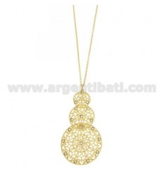 ROLO CHAIN 'CM 80 WITH DEGRADE ROUND PENDANT IN AG GOLD PLATED TIT 925 ‰ AND RHINESTONES