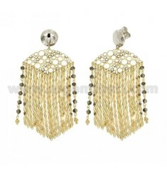 EARRINGS CHAINS, RHINESTONE AND STONES IN GREY AND GOLD PLATED RHODIUM AG TITLE 925 ‰
