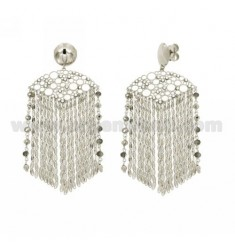 EARRINGS CHAINS, RHINESTONE AND STONES IN GREY RHODIUM AG TITLE 925 ‰