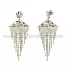 EARRINGS CHAINS, RHINESTONE AND PEARL IN RHODIUM AG TITLE 925 ‰