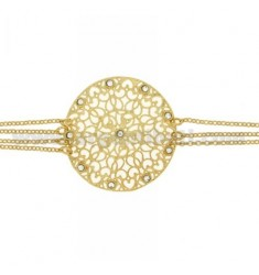 ROLO BRACELET &39CM 20 WITH CENTRAL GOLD PLATED ROUND IN AG TIT 925 ‰ E STRASS