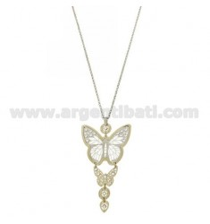 ROLO CHAIN &8203&820350 CM WITH PENDANT DEGRADE BUTTERFLIES IN GOLD AND RHODIUM PLATED AG TIT 925 ‰ Rhinestone