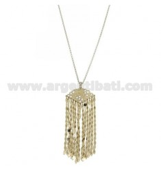 ROLO CHAIN CM 50 WITH PENDANT WITH RHINESTONES AND CHAINS IN AG GOLD PLATED AND RHODIUM TIT 925 ‰