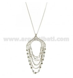 ROLO CHAIN CM 50 WITH PENDANT WITH RHINESTONES, CHAINS AND GRAY STONES IN AG AND RHODIUM TIT 925 ‰