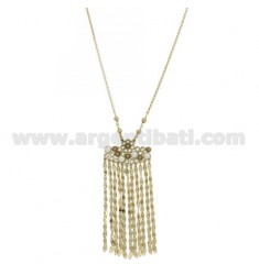 ROLO CHAIN 'CM 50 WITH PENDANT WITH CHAINS, RHODIUM AND PEARLS IN AG RHODIUM-PLATED AND GOLD PLATED TIT 925 ‰