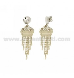 EARRINGS CHAINS, RHINESTONE AND PEARL AND GOLD PLATED RHODIUM IN AG TITLE 925 ‰
