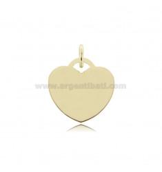 Herz Anhänger 22 mm Dicke 0,8 mm vergoldet im AG TIT 925 ‰