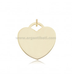 HEART PENDANT MM 28 THICKNESS MM 0,8 IN AG GOLD PLATED TIT 925 ‰