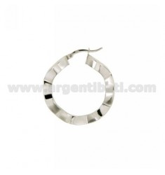 EARRINGS CIRCLE MM 32 A BARREL CRUSHED WAVY FRONT MM 2, SIDE 4 MM SILVER RHODIUM TIT 925 ‰