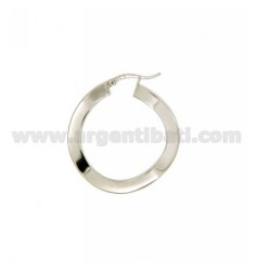 EARRINGS CIRCLE MM 32 A BARREL SHAPED FRONT WAVY MM 2, SIDE 4 MM SILVER RHODIUM TIT 925 ‰