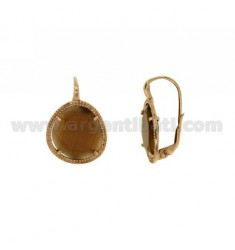 EARRINGS MONACHELLA SASSO SMALL STONE HYDROTHERMAL BROWN PEARL 68P IN AG TIT PLATED ROSE GOLD 925 ‰