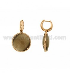 EARRING CERCHIETTO snap WITH ROUND BROWN 68P ROSE GOLD PLATED PENDANT IN AG TIT 925