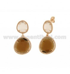 DOUBLE STONE EARRINGS LITTLE SILVER PLATED ROSE GOLD 925 ‰ TITLE WITH STONES HYDROTHERMAL TORRONCINO AND BROWN PEARL PEARL 31P 6
