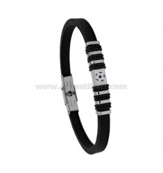 BRACELET IN STEEL AND BLACK RUBBER 5 MM WITH CENTRAL ELEMENT WITH ENAMELED BALL