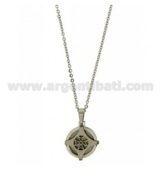WIND ROSE PENDANT 19 MM STEEL CHAIN CABLE 50 CM