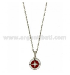 WIND ROSE PENDANT 15 MM STEEL AND ENAMEL WITH CHAIN CABLE 50 CM