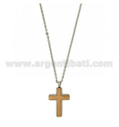 CROSS PENDANT STEEL INSERTS WITH ROSE GOLD PLATED WITH CABLE CHAIN 50 CM