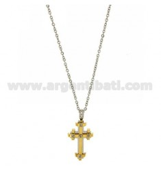 CROSS PENDANT STEEL INSERTS ROLLED GOLD CHAIN CABLE 50 CM