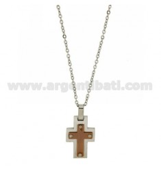 CROSS PENDANT STEEL INSERTS WITH ROSE GOLD PLATED CHAIN CABLE 50 CM