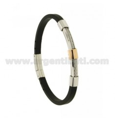 5 MM STEEL AND RUBBER BRACELET WITH ROSE GOLD PLATED ELEMENTS
