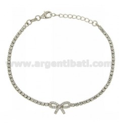 TENNIS BRACELET WITH BOW AND ZIRCONIA IN AG TIT RHODIUM 925 ‰ CM 17.20