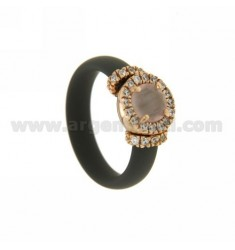 RING IN RUBBER &39GREY WITH APPLICATION IN ROUND PINK GOLD PLATED AG TIT 925 ‰, ZIRCONIA STONES AND HYDROTHERMAL VARIOUS COLOR
