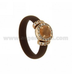 RING IN RUBBER &39BROWN WITH APPLICATION ROUND SILVER ROSE GOLD PLATED TIT 925 ‰, ZIRCONIA STONES AND HYDROTHERMAL VARIOUS COL