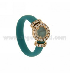 RING IN RUBBER &39TURQUOISE WITH APPLICATION ROUND SILVER ROSE GOLD PLATED TIT 925 ‰, ZIRCONIA STONES AND HYDROTHERMAL VARIOUS