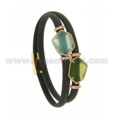 DOUBLE ROUND BRACELET IN GRAY RUBBER WITH IRREGULAR STONES IN HYDROTHERMAL STONES, SILVER TIT 925