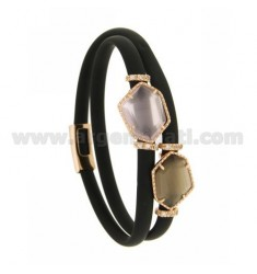 DOUBLE ROUND BRACELET IN BLACK RUBBER WITH IRREGULAR STONES IN HYDROTHERMAL STONES, SILVER RED GOLD PLATED TIT 925