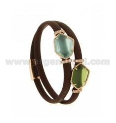 DOUBLE ROUND BRACELET IN BROWN RUBBER WITH IRREGULAR STONES IN HYDROTHERMAL STONES, IN SILVER PLATED ROSE GOLD TIT 925