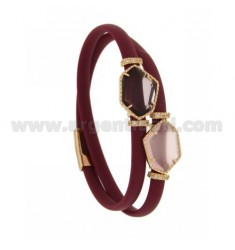 DOUBLE ROUND BRACELET IN RUBBER GRAIN WITH IRREGULAR STONES IN HYDROTHERMAL STONES, IN SILVER PLATED ROSE GOLD TIT 925
