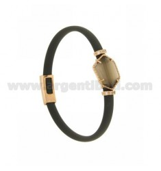 RUBBER BRACELET GRAY WITH IRREGULAR STONE HYDROTHERMAL STONE SILVER ROSE GOLD PLATED TIT 925